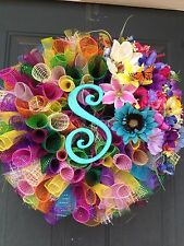 NEW Multi-colored Spring/Summer Handmade Monogrammed Deco Mesh Wreath