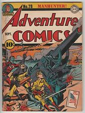 ADVENTURE COMICS #78,DC GOLDEN AGE '42,MANHUNTER/SANDMAN WAR COVER by KIRBY!