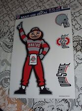 """OHIO STATE UNIVERSITY BRUTUS MASCOT CLEAR CLING FOUR DECAL SHEET 11"""" X 17"""" NEW"""