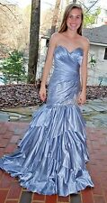 Silver strapless satin finish pageant prom gown Tony Bowls size 2