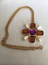 Vintage Signed Avon Amber Purple Faux Pearls Maltese Cross Necklace Brooch Pin