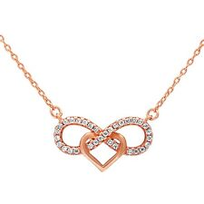 Rose Gold Plated Cz Infinity w/ heart .925 Sterling Silver Pendant Necklace