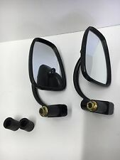 "Black Bar End Semi Rectangular Convex Mirrors Universal 1"" or 7/8"" Motorcycle"