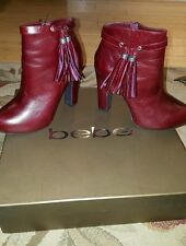 bebe beautiful petra oxbld color red boots with heel 7.5