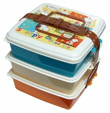 SNOOPY 3 TIERED SQUARE STACKABLE PICNIC LUNCH BOX WITH TIE BELT MADE IN JAPAN