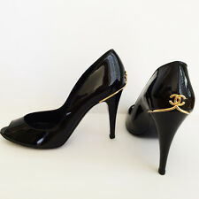 NIB GORGEOUS CHANEL BLACK PATENT LEATHER  GOLD CC LOGO OPEN TOE HEELS PUMPS 41
