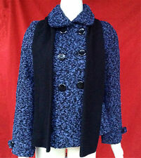 NWT Black Lipstick fashion junior wool blend blue tweed coat with scarf  size--S
