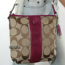 New Coach Signature Stripe Shoulder Bag Crossbody Swingpack F21905 Berry RARE