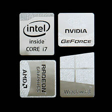 Haswell Intel Core i7 Logo Metal Decal Sticker Windows8 NVIDIA (Silver Type E)