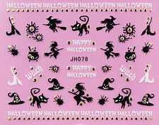 Halloween Black Witch Spider Cat Hat Broom GOLD Stud 3D Nail Art Sticker Decal