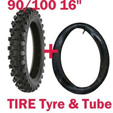 "90/100-16 16"" inch Rear Back Knobby Tyre Tire +Tube PIT PRO Trail Dirt Bike USA"