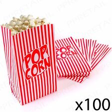 100 x RETRO STRIPED PAPER POPCORN BAGS Sweets & Treats Holder Movie Night Party