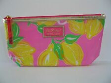 Lilly Pulitzer for Estee Lauder Pink w/Lemons - zippered plastic cosmetic pouch