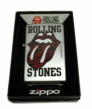 Zippo Custom Lighter Rolling Stones Red Tiger Printed Lips Tongue Satin Chrome
