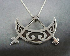 Scottish 1979 Pictish Crescent & V Rod Silver Pendant Ola Gorie