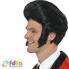 1950s BLACK QUIFF ELVIS PRESLEY ROCK SIDEBURNS WIG - mens fancy dress costume