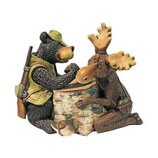 Casual Lodge Decor Black Bear & Moose Arm Wrestling Wilderness Statue