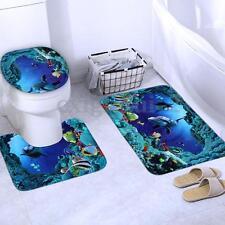 3 tlg Badgarnitur Badezimmer Matte Set Dusch Bade Matte Vorleger Teppich WC DE
