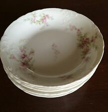 Theodore Haviland Limoges Sch.151 Pink Asters Scalloped 3 Coupe Soup Bowls