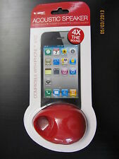 VIBE RED ACOUSTIC SPEAKER  IPHONE 4/4S & more 4X Amplifies the SOUND NO BATTERYS