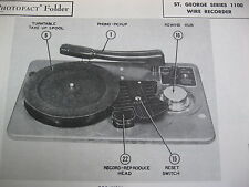 ST. GEORGE 1100 series WIRE RECORDER PHOTOFACT