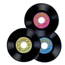 50's  ROCK & ROLL Plastic RECORDS (3 COUNT) Party DECORATION Sock Hop HAPPY DAYS