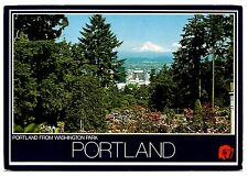 Portland From Washington Park Oregon Postcard Mt Hood International Rose Garden