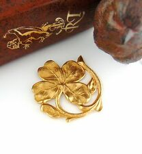 BRASS (1 Piece) FOUR LEAF SHAMROCK MOTIF Clover Stamping - Findings (FA-6051) `
