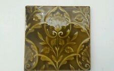 "Antique Minton Hollings 6""×6"" Trent on Stoke Tile, Green Majolica, Art Nouveau G"