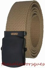 "NEW 1.5"" BLACK BUCKLE ADJUSTABLE 56"" INCH KHAKI CANVAS MILITARY GOLF WEB BELT"