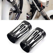 2X EDGE CUT BLACK ALUMINUM FORK SLIDER COVER COW BELLS FOR HARLEY TOURING 86-14