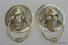 2 SKULL handle pull small solid BRASS old look SCREW Drawer door amazing NEW 3""