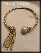 GOLD or SILVER DANGLE FRINGE CHAIN LINK THIN PEARL CUFF STATEMENT BRACELET NEW