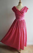 Vintage LAURA ASHLEY Pink Dress 50's Inspired Long Full Skirt UK8