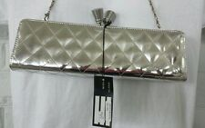 Sondra Roberts Evening Bag Purse Clutch NWT Silver Large Clasp Prom Wedding