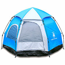 Gazelle Outdoors Camping Hiking 4 Person Family Instant Pop Up Hexagon Tent
