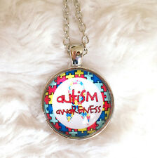 Silver Plt Autism Awareness Puzzle Ribbon Cabochon Necklace Pendant Ladies Gift