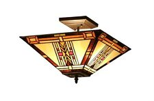 "Tiffany Style Stained Glass Mission 2 Light Semi-Flush Ceiling Fixture 14"" Shade"