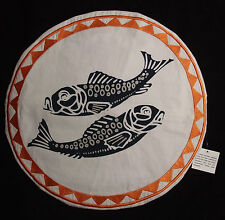 "NWT ALLEM STUDIO Navy & Tangerine PigmentPrint Embroidered Pillow Cover 16"" Rnd"""