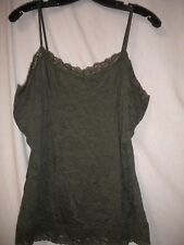 Coldwater Creek Size Large (14/16) Olive Lace Trim V Neck Womens Cami Tank Top