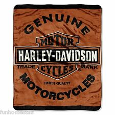 "GENUINE HARLEY-DAVIDSON SUPER SOFT PLUSH BIG WARM THROW BLANKET 60"" X 80"" TWIN"