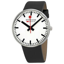 Mondaine Classic Swiss Railways Giant White Dial Black Leather Mens Watch