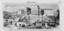 Stampa antica BRESCIA accampamento esercito Napoleone III 1859 Old print