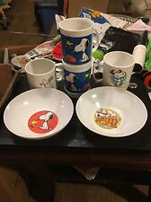 Vintage Plastic Snoopy Cups And Bowls