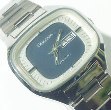 Genuine Vintage Bulova 17 Jewels Swiss Automatic Analog Watch t-swiss Blue Dial
