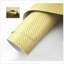 Car Interior GOLDEN Twill-Weave Carbon Fiber Vinyl Wrap Film Sheet Decal Sticker