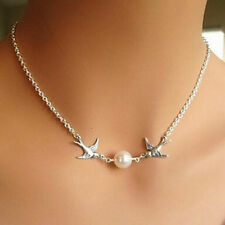 Fashion Jewelry Silver 2-Flying-Birds Swallow Simple Pearl Necklace Chain Gift