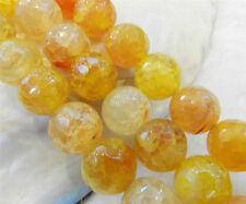 "10mm Yellow Dragon Veins Agate Round Gemstones Loose Beads 15"" Strand"