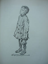 VINTAGE WWI PRINT - SKETCH OF YOUNG BOY By C.D. GIBSON - KING ALBERT'S BOOK 1914