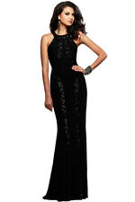 Sequin Trim Black Jersey Patchwork Gown Evening Dress